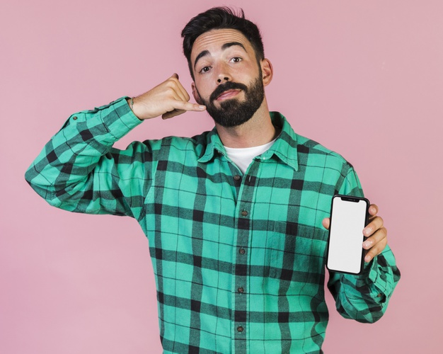 Man phone call plad shirt